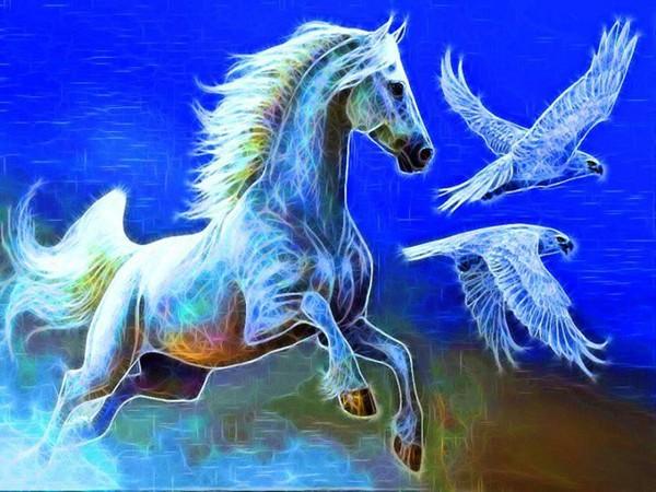 Cheval et des aigles en couleurs