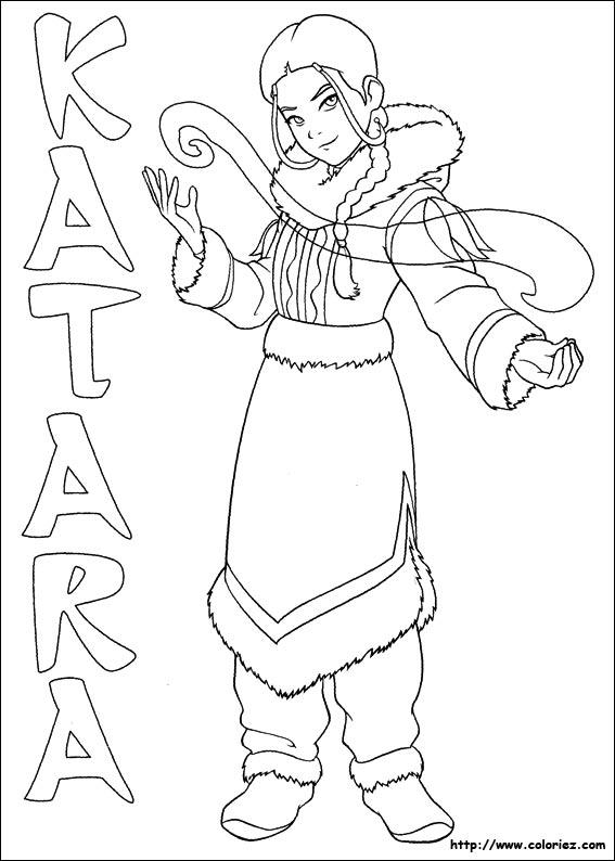 Coloriage de Avatar le dernier maître de l'air : Katara