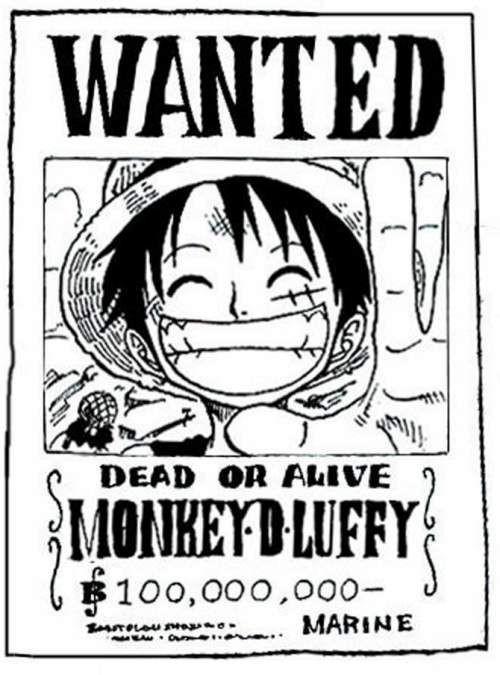 Coloriage de One Piece : un avis de recherche de Luffy