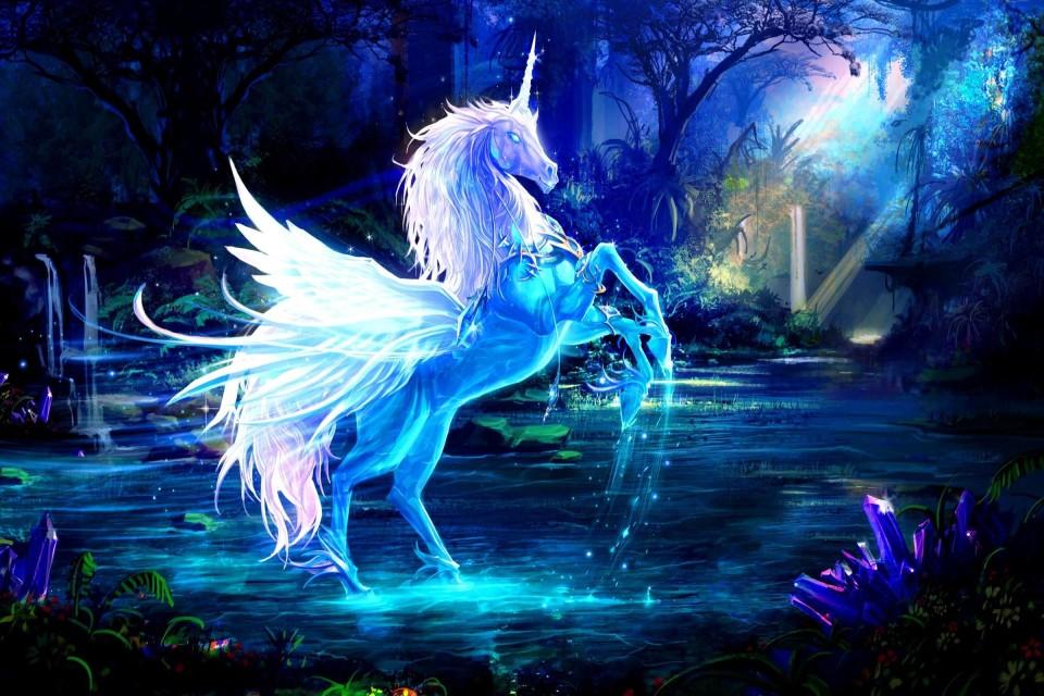 Une Licorne dans un lac féerique
