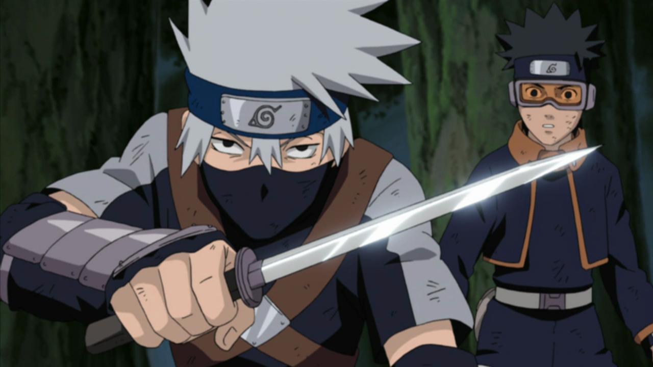 Naruto Shippuden - Kakashi et Obito quand ils étaient des enfants