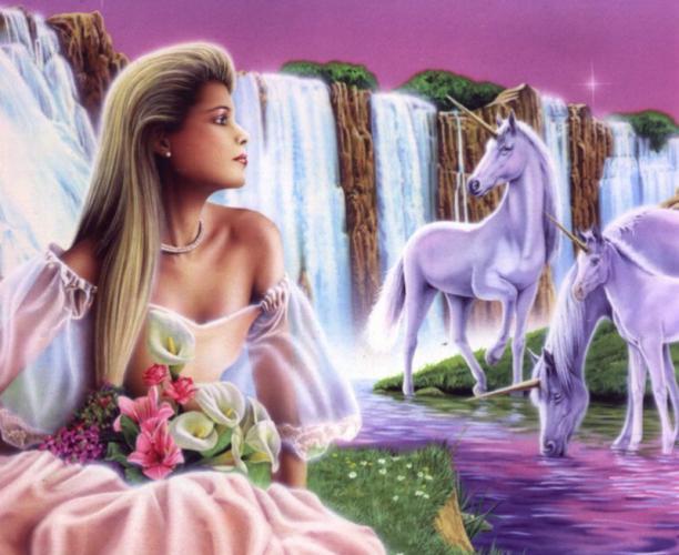 Une fille et des licornes